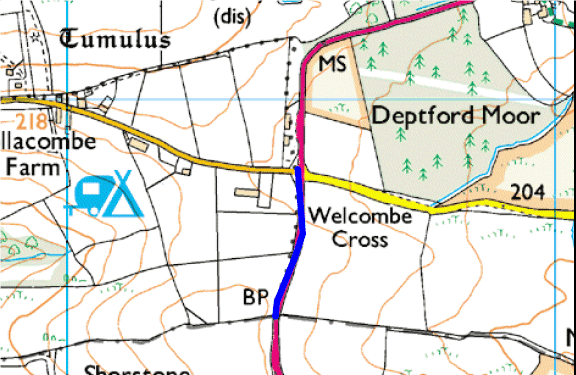 MAp showing section of A39 treated by Cornwall Council