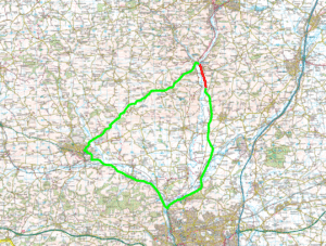 Red shows A396 From Bickleigh Bridge to Burn Cross