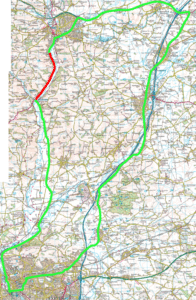 Red shows A396 From Whitehall Cottage to Bickleigh Bridge