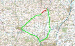 Red shows A3072 From Bickleigh Bridge to Chillaton Gate