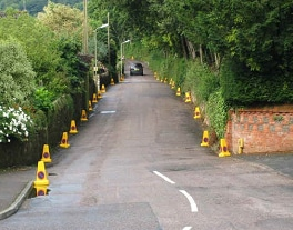 Photo of a lane with cones