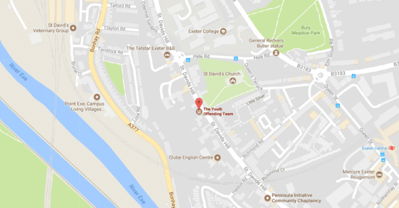 map showing the location of the Exeter office