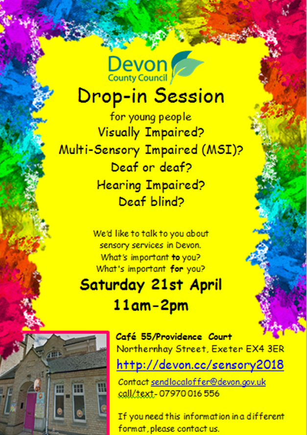 sensory drop in sessions poster April 2018