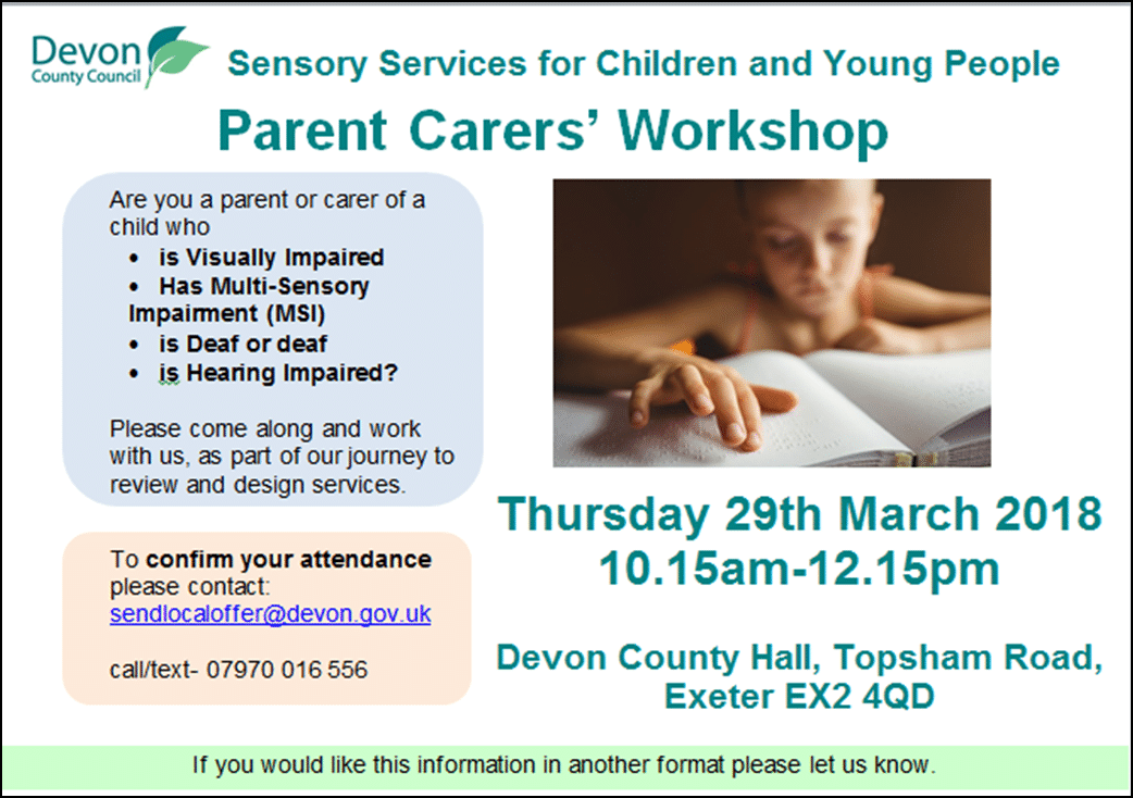 parent carers' workshop poster March 2018