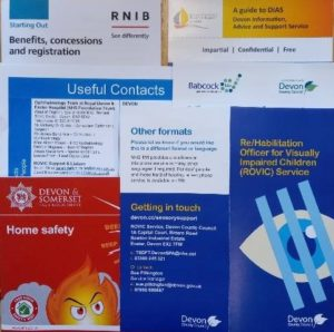 examples of information and contact numbers put into the pack given to families