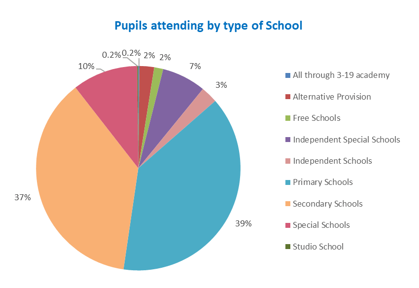 Pie chart showing pupils attending by type of school