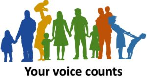 Outline of parents and children with the caption 'your voice counts'