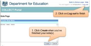 DfE collect portal screenshot add note