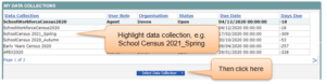 DfE collect portal screenshot my data collections