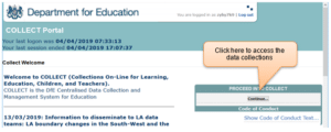 DfE collect portal screenshot to proceed into collect