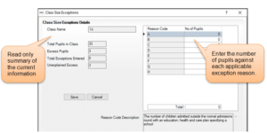 Sims screenshot of Census Return for adding class size exception
