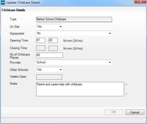 Sims screenshot of Census Return for amending childcare details