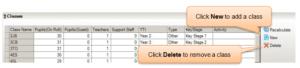 Sims screenshot of Census Return for amending classes