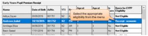 Sims screenshot of Census Return for amending early years pupil premium reciept