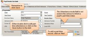 Sims screenshot of Census Return for amending part time status