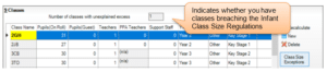 Sims screenshot of Census Return for class size breach