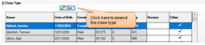 Sims screenshot of Census Return for class type