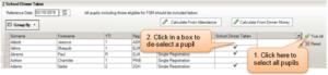 Sims screenshot of Census Return for school dinner taken