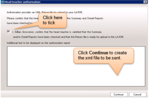 Sims screenshot of Census Return headteacher authorisation