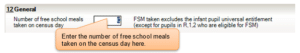 Sims screenshot of General panel to collect Free School Meals;