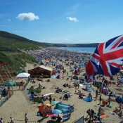 woolacombe beach crowded with people on a hot summers day taken by Mrs Cynthia Snowden